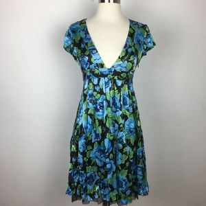 Free People Blue Floral Silk Dress Small